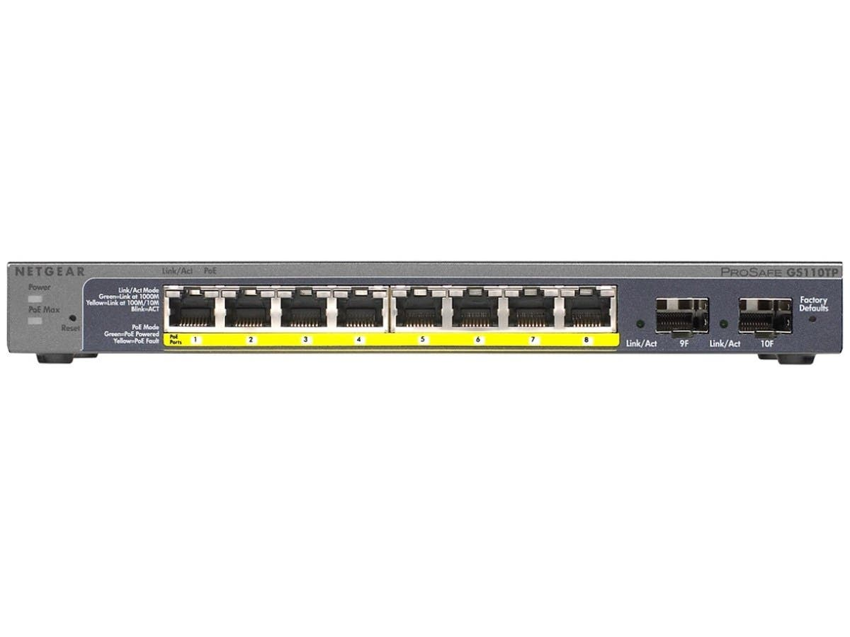 Netgear Prosafe 8-Port Gigabit PoE Smart Switch with 2 Gigabit Fiber SFP - 8 Ports - Manageable - 2 x Expansion Slots - 10/100/1000Base-T, 1000Base-X - Uplink Port - 2 x SFP Slots - 2 Layer Supported