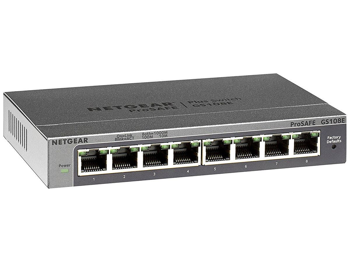 Netgear Prosafe Plus GS108E Ethernet Switch - 8 Ports - 10/100/1000Base-T - 2 Layer Supported - Desktop, Wall MountableLifetime Limited Warranty