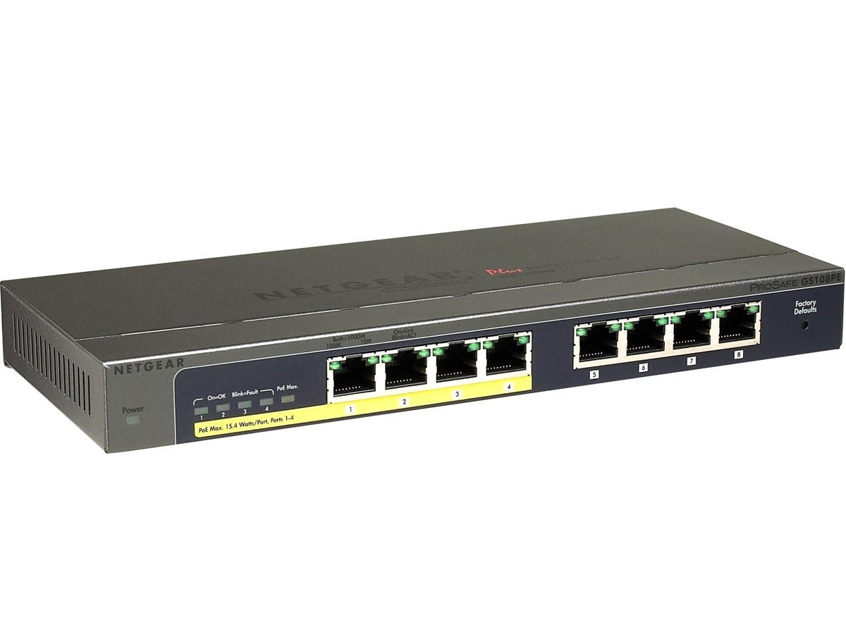 Netgear ProSafe Plus Switch 8-port Gigabit Ethernet Switch with 4-port PoE - 8 Ports - 10/100/1000Base-T - 2 Layer Supported - Desktop, Wall MountableLifetime Limited Warranty-Large-Image-1