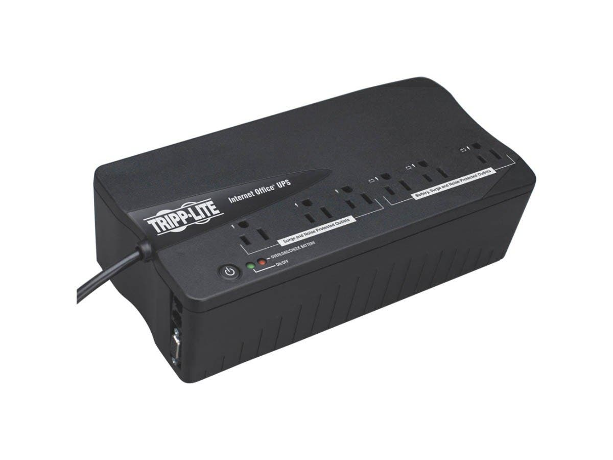Tripp Lite UPS 350VA 180W Desktop Battery Back Up Compact 120V DB9 RJ11 PC - 350VA/180W - 2.5 Minute Full Load - 3 x NEMA 5-15R - Battery Backup System, 3 x NEMA 5-15R - Surge-protected-Large-Image-1
