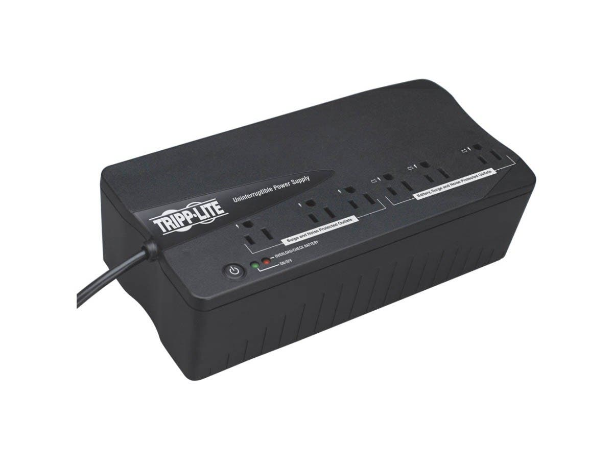 Tripp Lite UPS 350VA 180W Desktop PC / MAC Battery Back Up Compact 120V 6 Outlets - 350 VA/180 W - 120 V AC - 2.50 Minute - Mini Desktop - 2.50 Minute - 3 x NEMA 5-15R, 3 x NEMA 5-15R-Large-Image-1