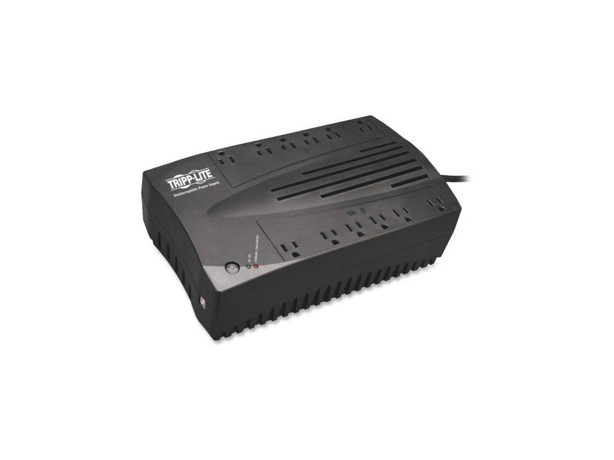 Tripp Lite UPS 750VA 450W Desktop Battery Back Up AVR Compact 120V USB RJ11 - 750 VA/450 W - 110 V AC, 115 V AC, 120 V AC - 3 Minute - Desktop - 3 Minute - 12 x NEMA 5-15R-Large-Image-1