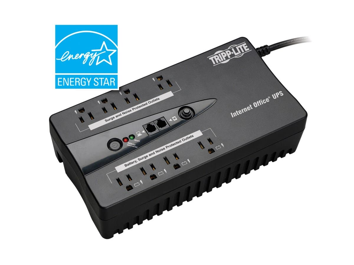 Tripp Lite UPS 600VA 300W Desktop Battery Back Up Compact 120V USB RJ11 PC - 600VA/300W - 3 Minute Full Load - 8 x NEMA 5-15R-Large-Image-1