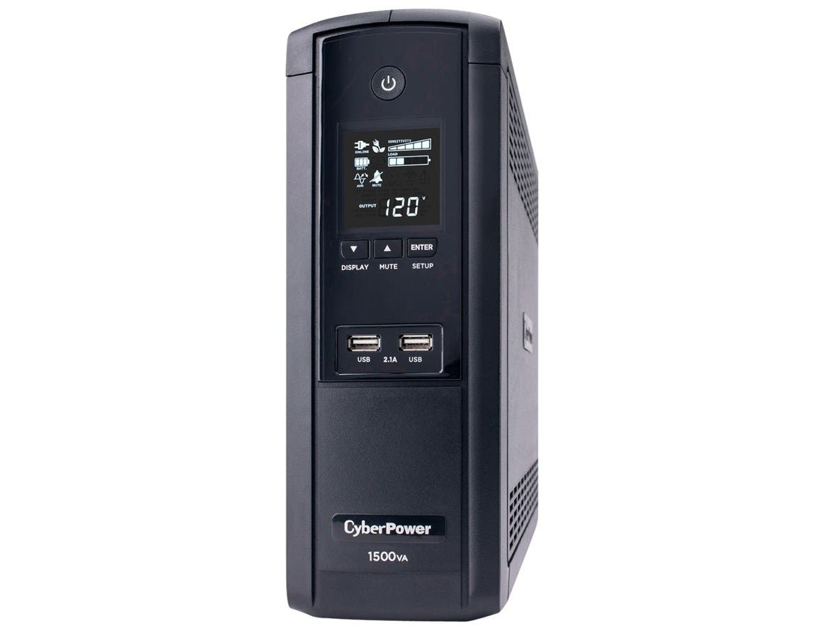 CyberPower Intelligent LCD Series BRG1500AVRLCD 1500VA 900W UPS with 2.1 USB Charging - 1500 VA/900 W - 2 Minute - Mini-tower - 2 Minute - 12 x NEMA 5-15R - Overload