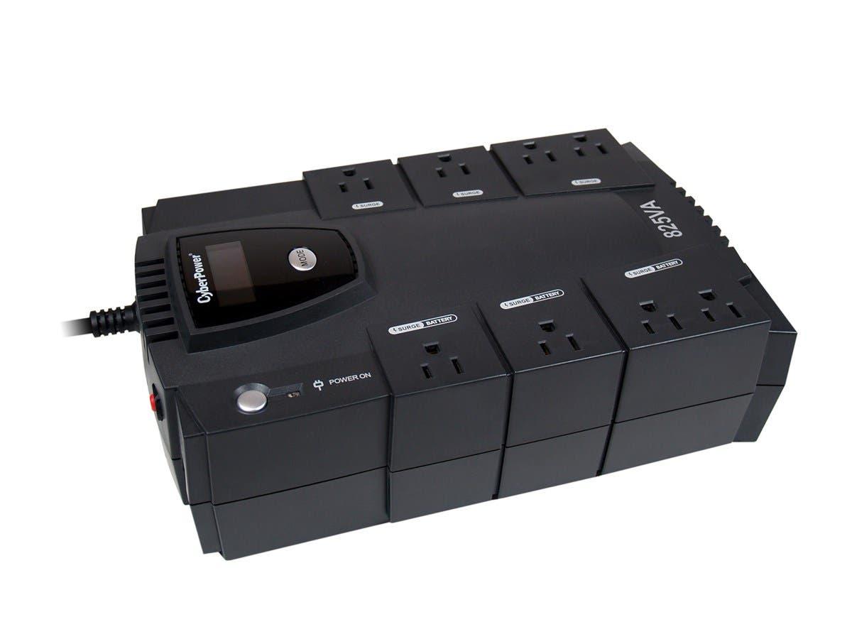 CyberPower Intelligent LCD CP825LCD 825 VA Desktop UPS - 825VA/450W - 2 Minute Full Load - 4 x NEMA 5-15R - Battery/Surge-protected, 4 x NEMA 5-15R - Surge-protected