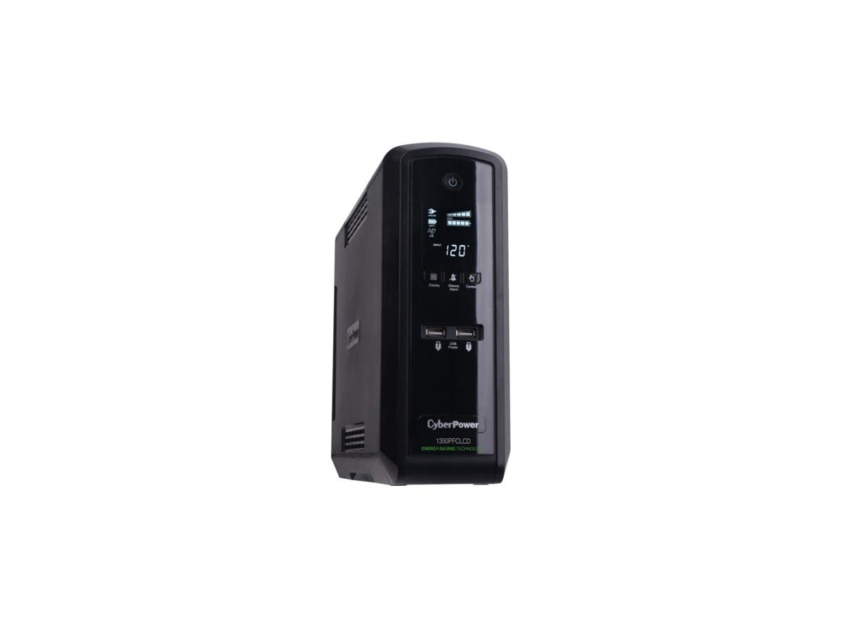 CyberPower CP1350PFCLCD UPS 1350VA 810W PFC compatible Pure sine wave - 1350VA/810W - Tower - 3 Minute Full Load - 10 x NEMA 5-15R-Large-Image-1
