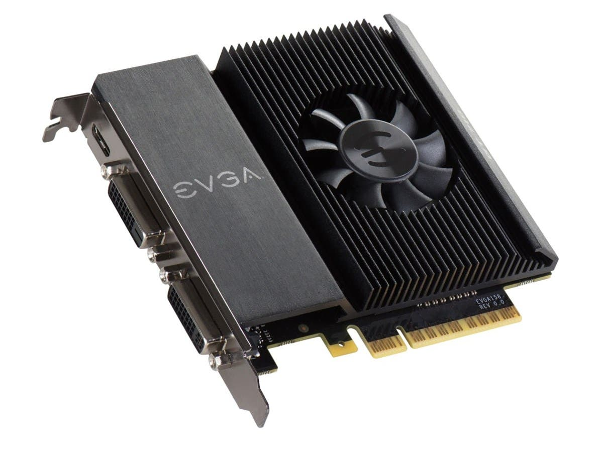 EVGA GeForce GT 710 Graphic Card - 954 MHz Core - 1 GB DDR3 SDRAM - PCI Express 2.0 x16 - Single Slot Space Required - 64 bit Bus Width - Passive Cooler - OpenGL 4.5, DirectX 12, OpenCL - 1 x Mini HDM