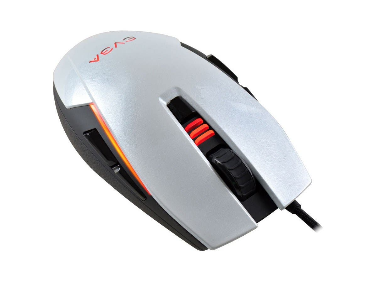 EVGA TORQ X5 Mouse - Optical - Cable - Black, Silver - Retail - USB - 6400 dpi - Scroll Wheel - 8 Button(s) - Symmetrical - 902-X2-1052-KR