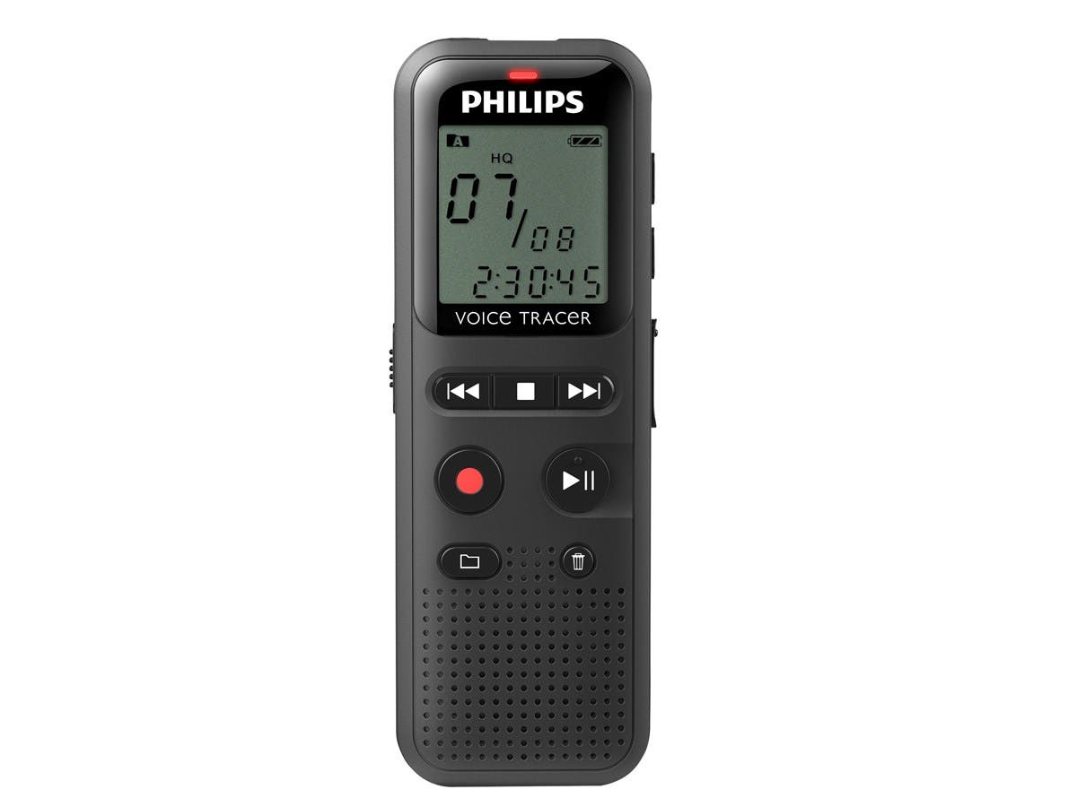 """Philips Voice Tracer Audio Recorder Notes Recording DVT1150 - 4 GB - 1.3"""" LCD - WAV - Headphone - 295 HourspeaceRecording Time - Portable"""