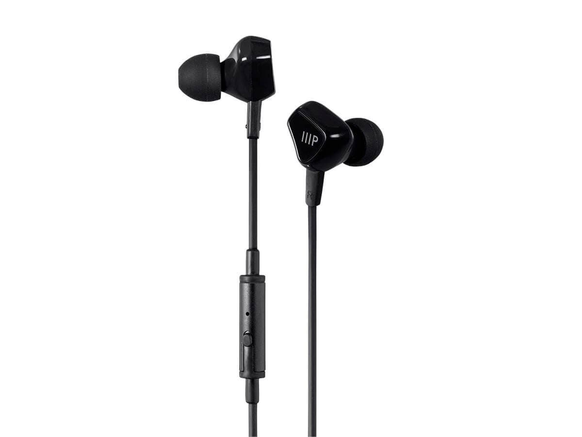 Monoprice Triple Driver Earbuds Headphones with In-line Mic and 1-button Control-Large-Image-1
