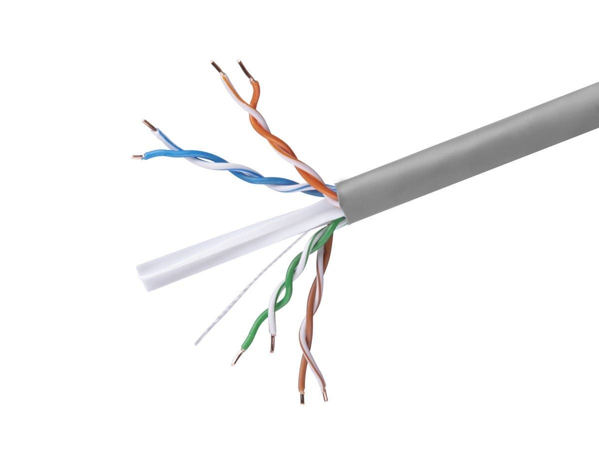 Cat6 Ethernet Bulk Cable - Solid, 350Mhz, UTP, CMR, Riser Rated,  Pure Bare Copper Wire, 23AWG, No Logo, 1000ft, Gray