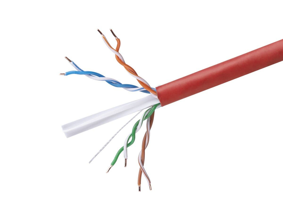 Cat6 Ethernet Bulk Cable - Solid, 350Mhz, UTP, CMR, Riser Rated,  Pure Bare Copper Wire, 23AWG, No Logo, 1000ft, Red