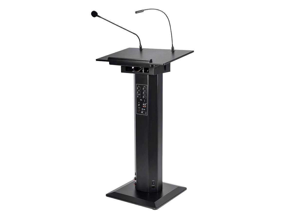 Monoprice Commercial Audio 60W Powered Lectern with Gooseneck Microphone and LED Light (No Logo)-Large-Image-1