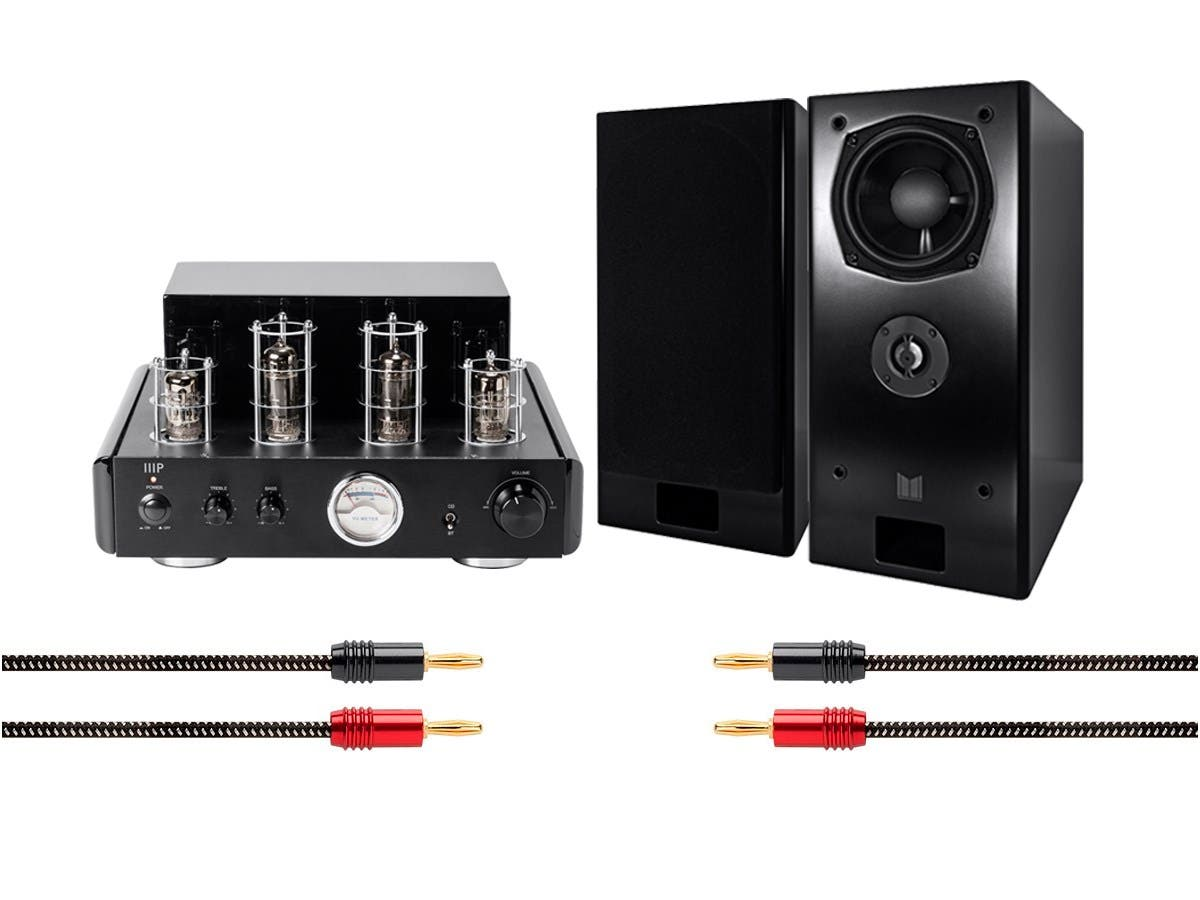 50 Watt Stereo Hybrid Tube Amplifier with Bluetooth and Monolith K-BAS Speakers Bundle