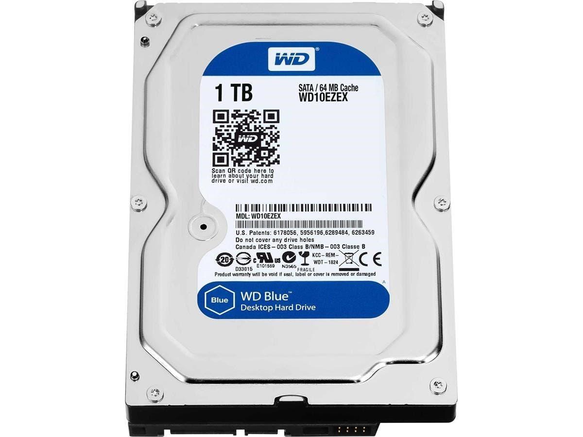 WD Blue 1TB SATA 6 Gb/s 7200 RPM 64MB Cache 3.5 Inch Desktop Hard Drive (WD10EZEX)-Large-Image-1