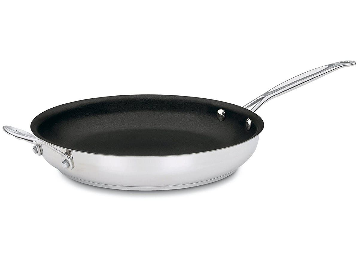 Cuisinart 722-30HNS Chef's Classic Stainless Nonstick 12-Inch Open Skillet with Helper Handle