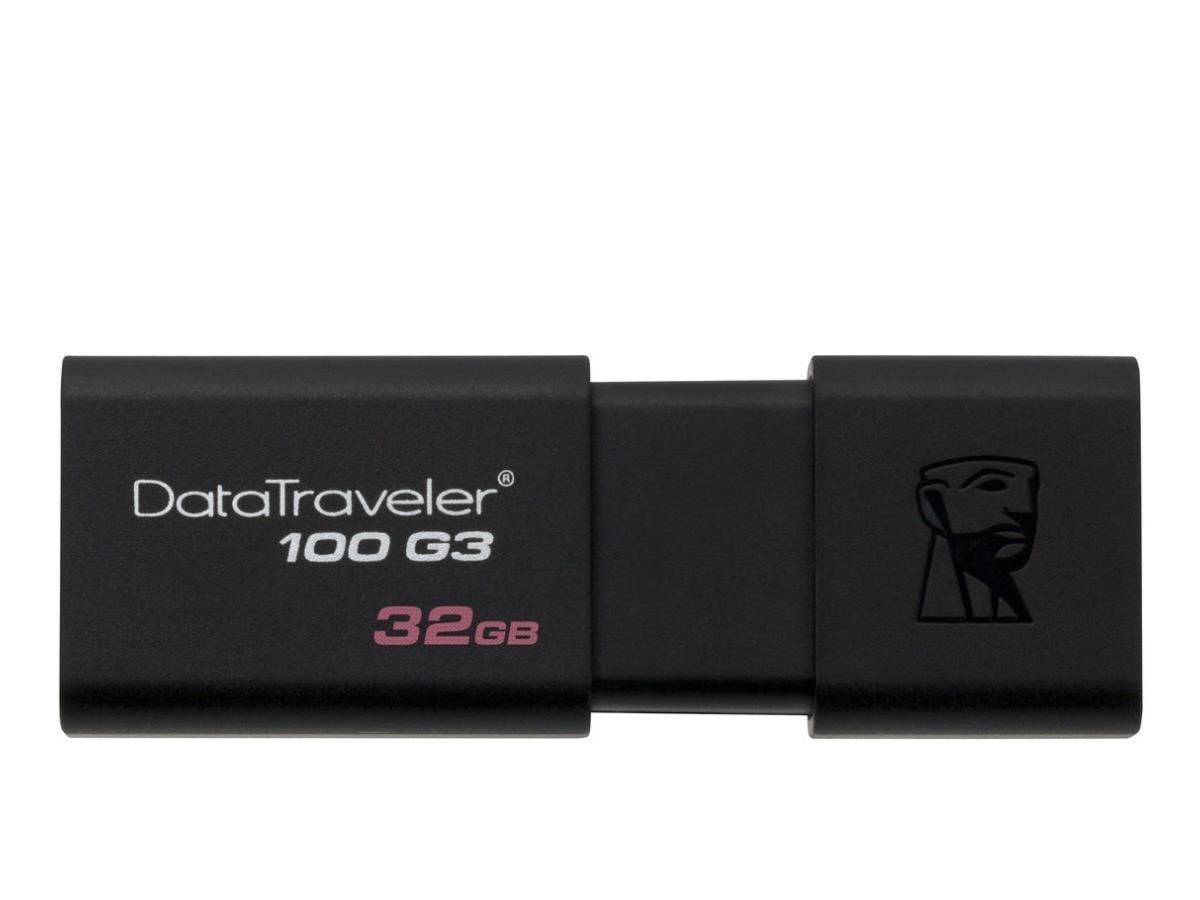 Kingston 32GB USB 3.0 DataTraveler 100 G3 - 32 GB - USB 3.0 - Black - 1 Pack - Retractable-Large-Image-1