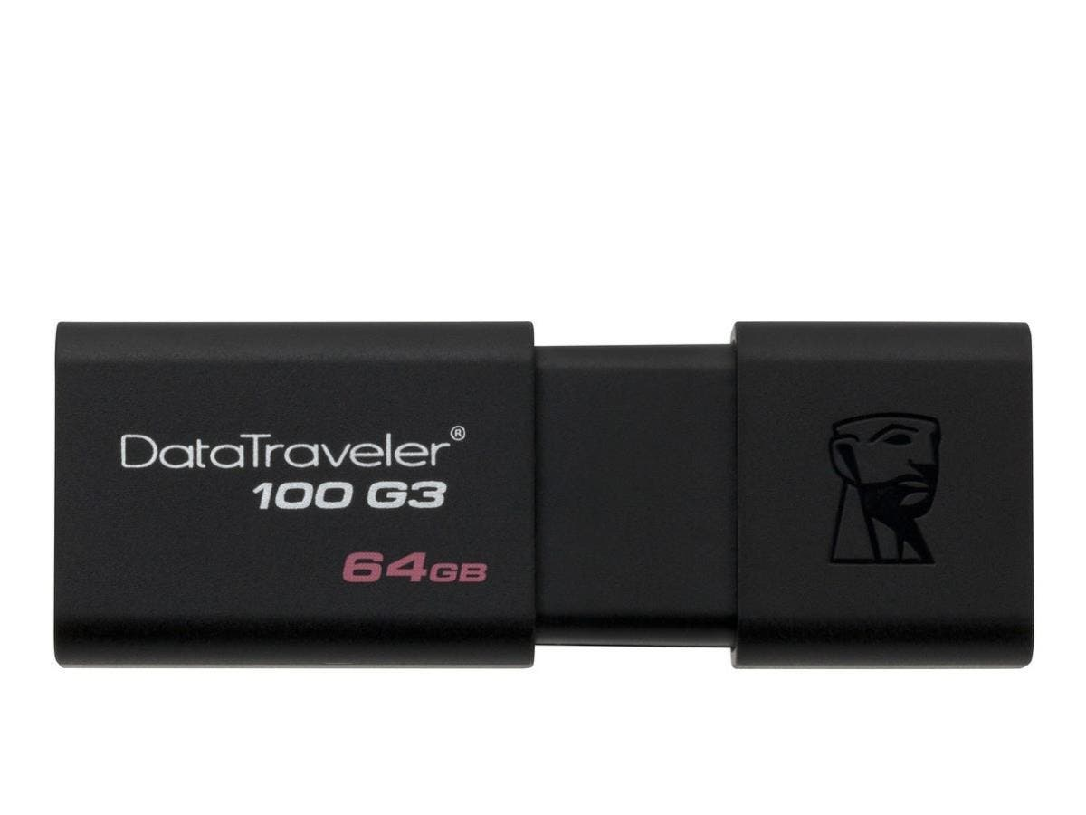 Kingston 64GB USB 3.0 DataTraveler 100 G3 - 64 GB - USB 3.0 - Black - 1 Pack - Retractable-Large-Image-1