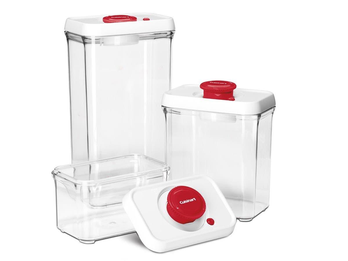 Cuisinart CFS-TC-S6R 6-Piece Set Fresh Edge Patented Vacuum-Seal Food Storage System, Red