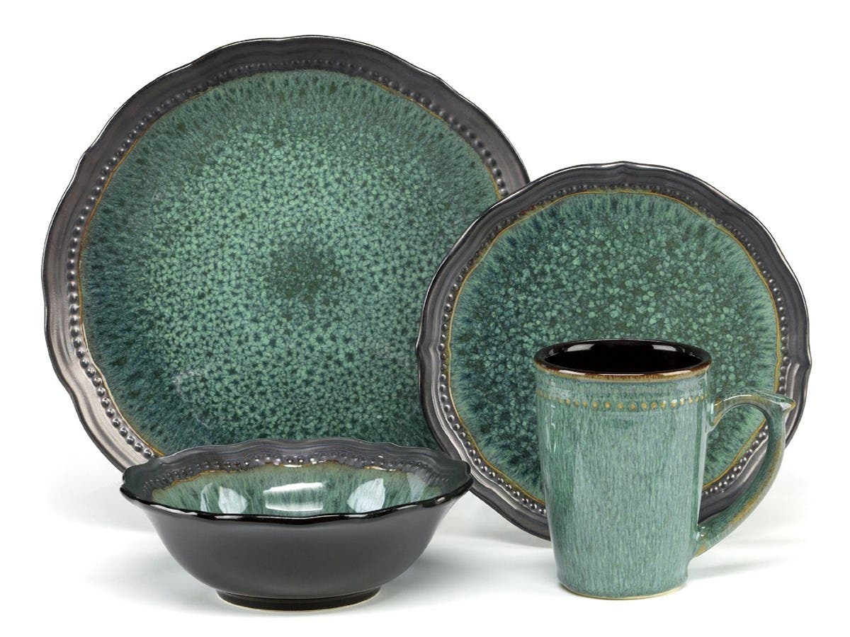 Cuisinart Stoneware Jenna Green Collection 16-Piece Dinnerware Sets