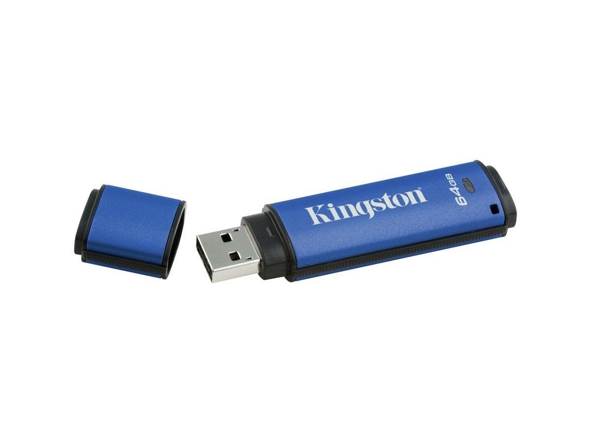 Kingston DataTraveler Vault Privacy 3.0 - 64 GB - USB 3.0 - Password Protection, Encryption Support, Water Proof