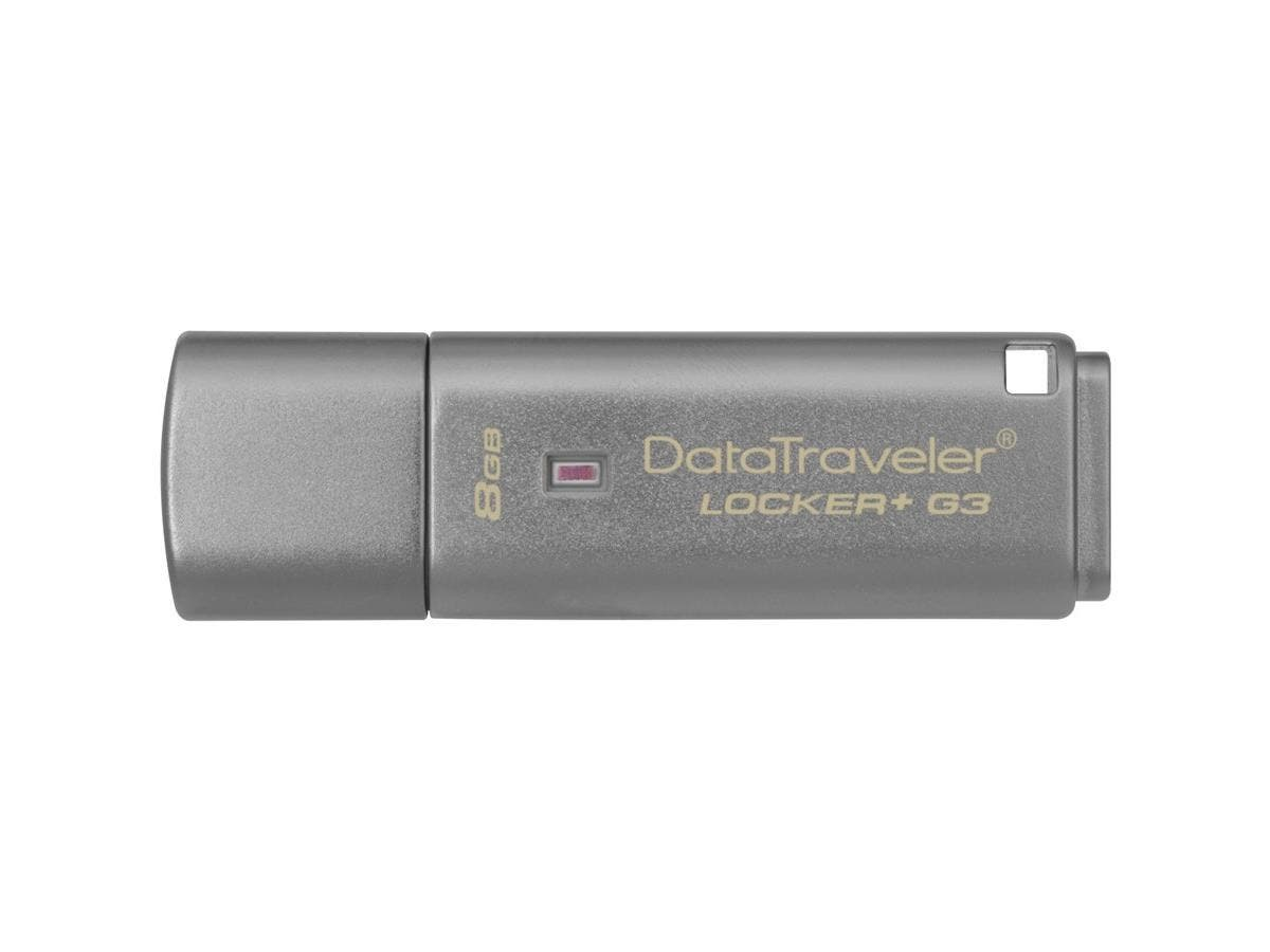 Kingston 8GB DataTraveler Locker+ G3 USB 3.0 Flash Drive - 8 GB - USB 3.0 - Silver - 1 Pack - Encryption Support, Password Protection, Drop Proof-Large-Image-1