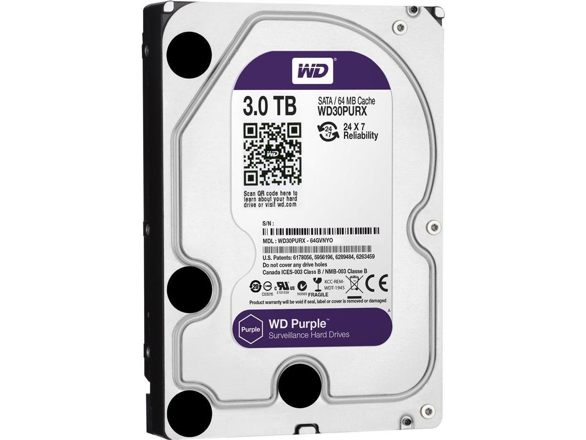 WD Purple 3TB Surveillance Hard Disk Drive - 5400 RPM SATA 6 Gb/s 64MB WD30PURX-Large-Image-1