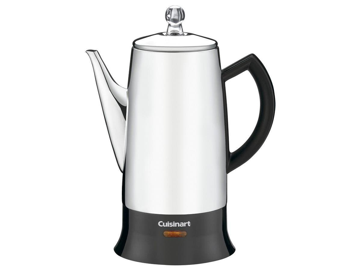 Cuisinart Classic PRC-12FR Coffee Percolator - 12 Cup(s) - Stainless, Black - Stainless Steel, Glass