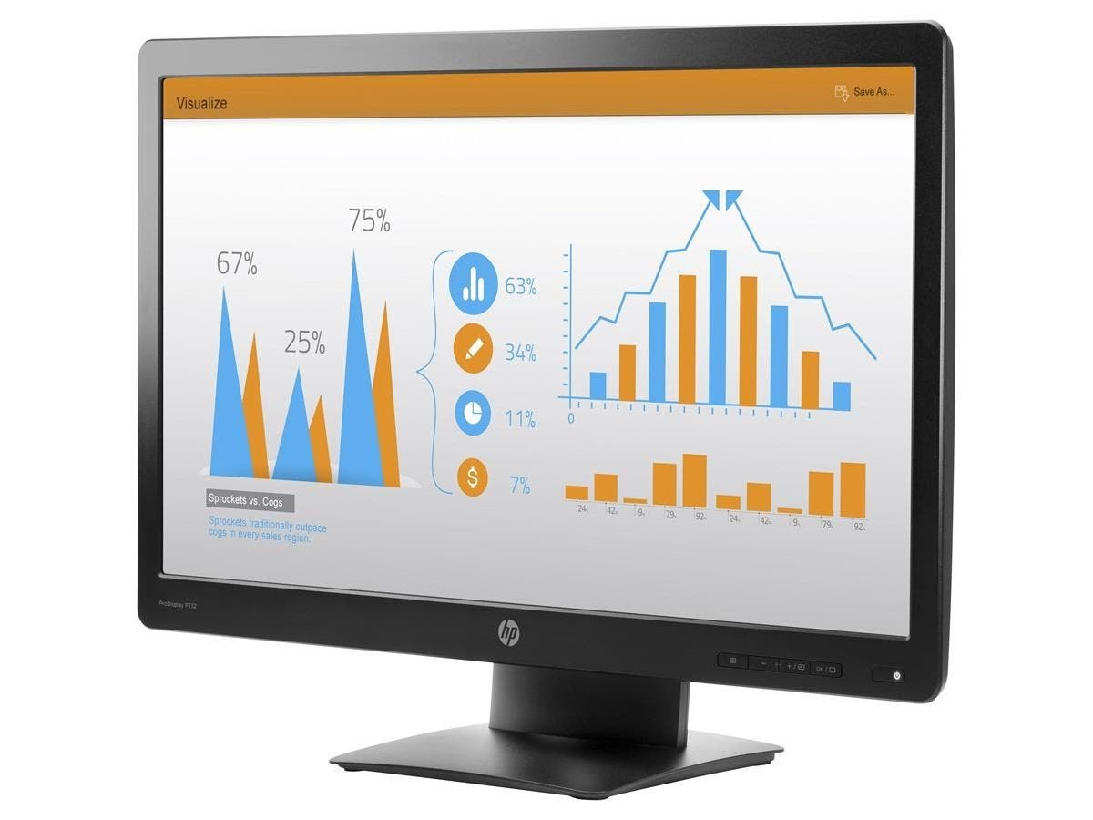 "HP Business P232 23"" LED LCD Monitor - 16:9 - 5 ms - 1920 x 1080 - 16.7 Million Colors - 250 Nit - 5,000,000:1 - Full HD - VGA - DisplayPort - 30 W - Black-Large-Image-1"