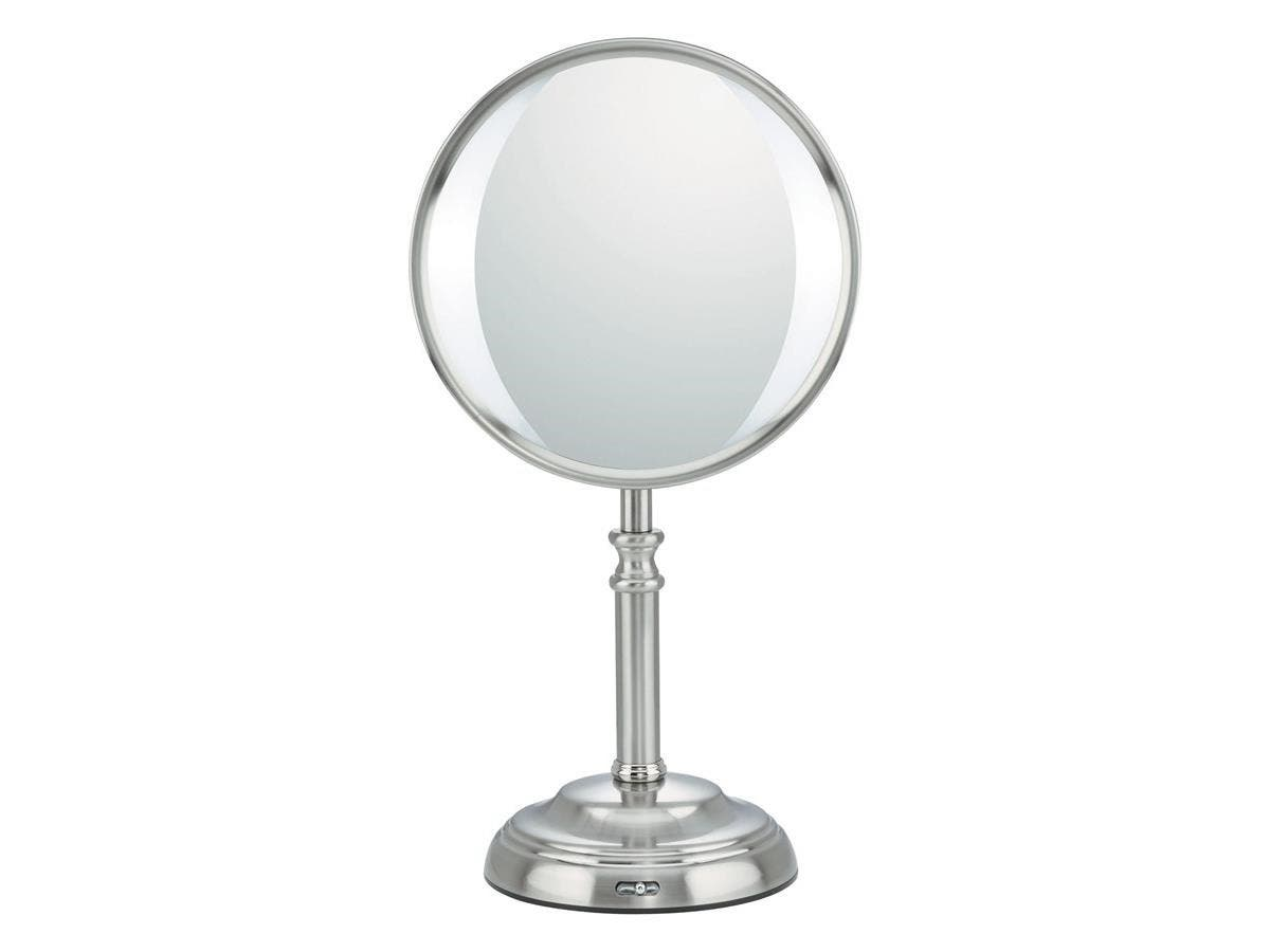 "Conair Elite Collection Variable LED Lighting Mirror - 8.50"" Diameter - Satin Nickel"