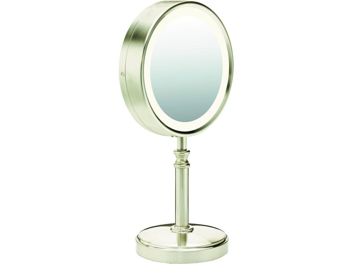"Conair Double-Sided Fluorescent Mirror - 8.50"" Diameter - Satin Nickel"