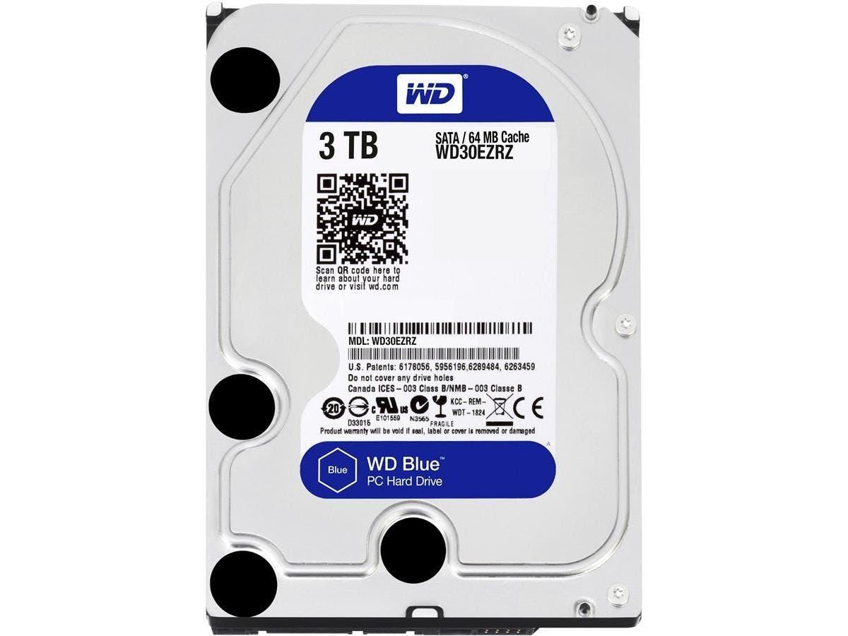 WD Blue 3TB Desktop Hard Disk Drive - 5400 RPM SATA 6Gb/s 64MB Cache 3.5 Inch - WD30EZRZ-Large-Image-1
