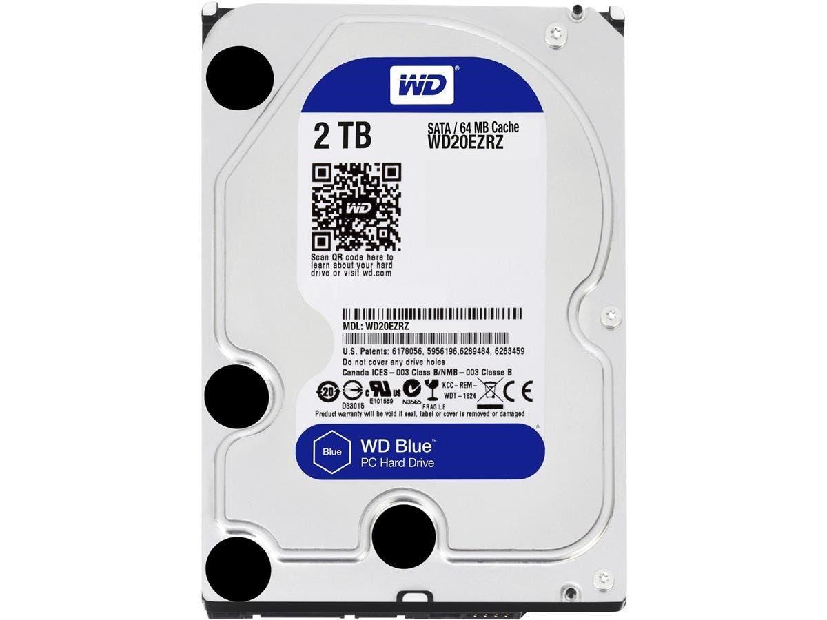 WD Blue 2TB Desktop Hard Disk Drive - 5400 RPM SATA 6Gb/s 64MB Cache 3.5 Inch - WD20EZRZ-Large-Image-1