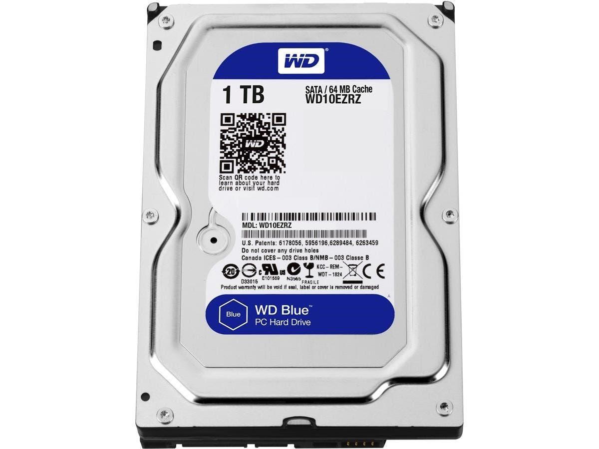 WD Blue 1TB Desktop Hard Disk Drive - 5400 RPM SATA 6 Gb/s 64MB Cache 3.5 Inch - WD10EZRZ-Large-Image-1