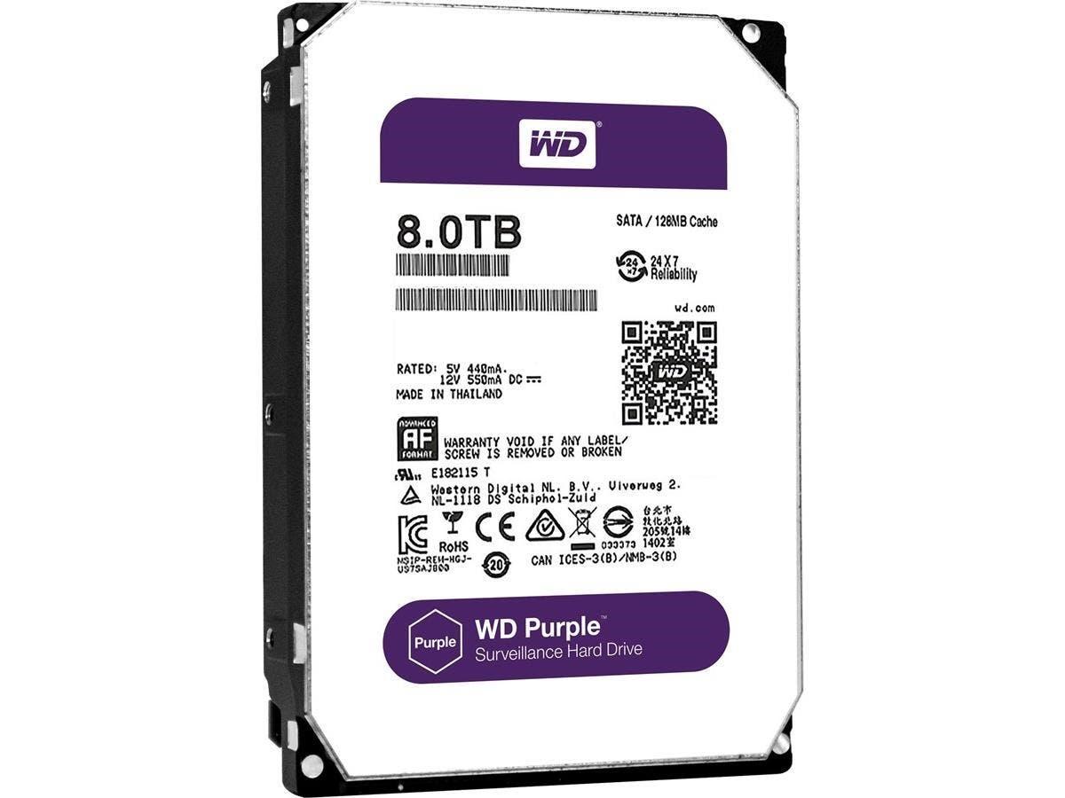 """WD Purple WD80PUZX 8 TB 3.5"""" Internal Hard Drive - SATA - 5400rpm -128 MB Buffer"""