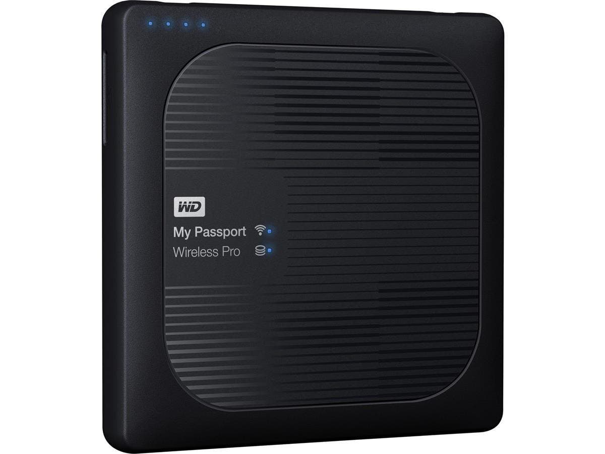 WD 2TB My Passport Wireless Pro Portable External Hard Drive - WiFi AC, SD, USB 3.0 - Wireless LAN - 256 MB Buffer - Portable - Black