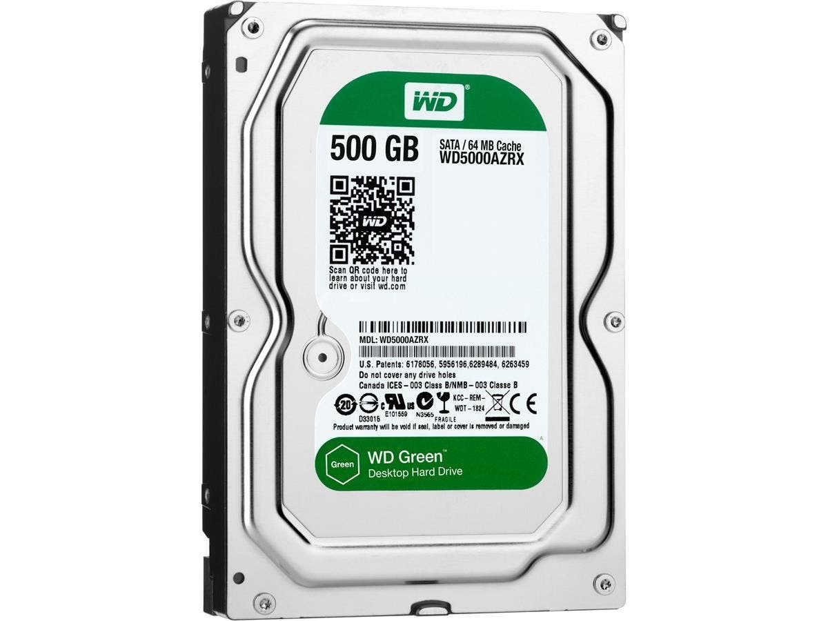 WD Green 500GB Desktop Capacity Hard Drive - WD Green 500GB Desktop Hard Drive 3.5-inch SATA 6, IntelliPower, 64 MB Cache Internal Bare or OEM Drive-Large-Image-1