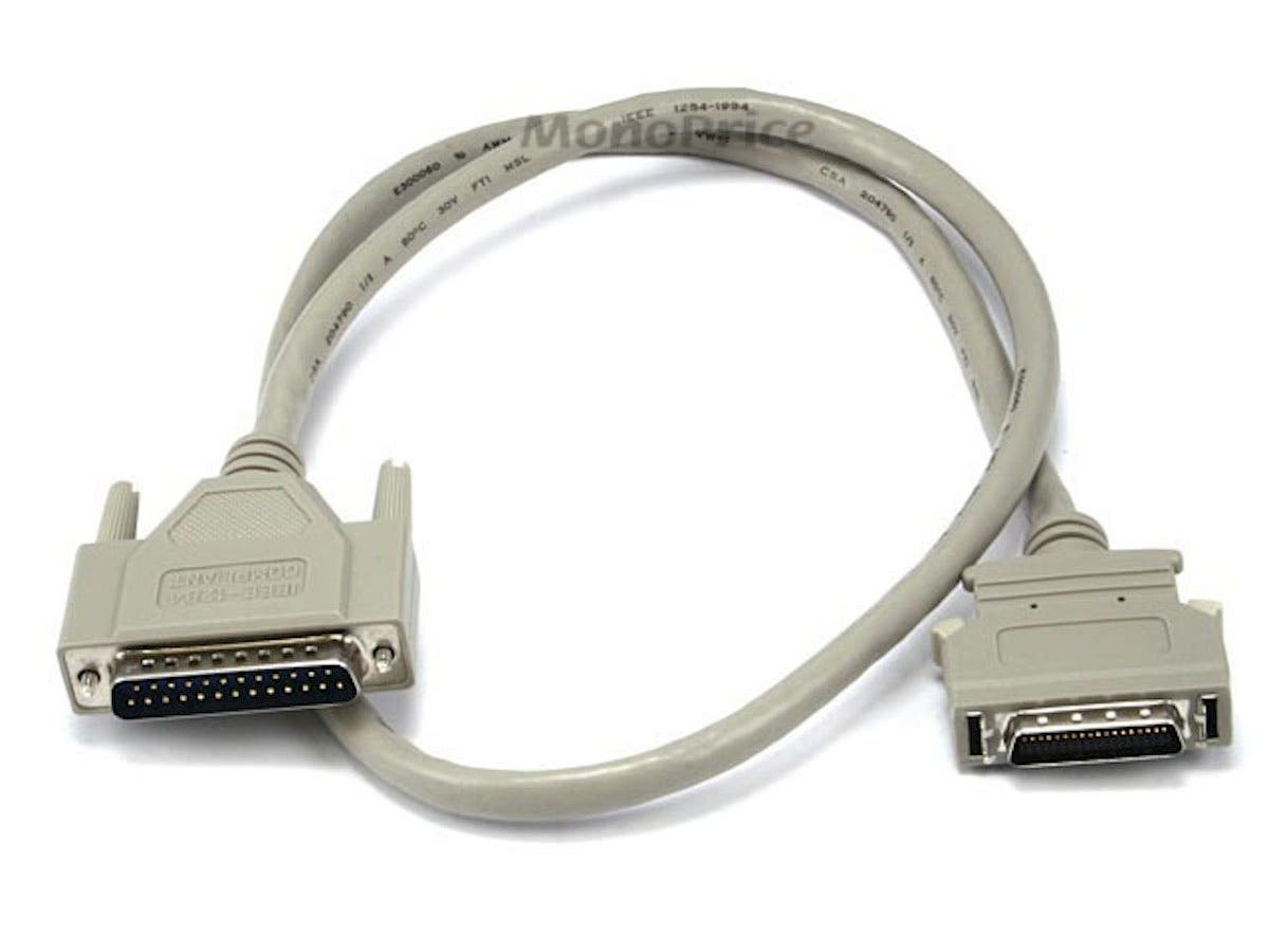 3FT DB-25(IEEE-1284) Male to Mini/Micro Centronic 36(HPCN36) Male Cable [IE]
