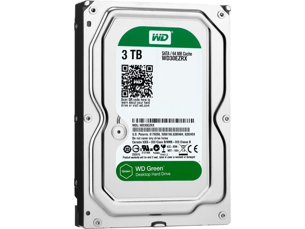 WD Green 3TB Desktop Capacity Hard Drives SATA 6 - WD Green 3TB Desktop Hard Drive 3.5-inch SATA 6, IntelliPower, 64 MB Cache Internal Bare or OEM Drive-Large-Image-1