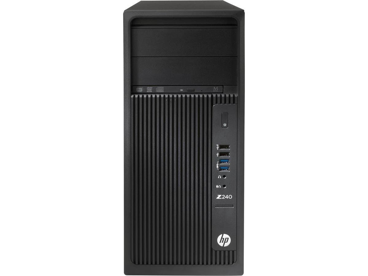 HP Z240 Tower Workstation - 1 x Processors Supported - 1 x Intel Core i7 (6th Gen) i7-6700 Quad-core (4 Core) 3.40 GHz - Black - 8 GB RAM - 64 GB Maximum RAM - DDR4 SDRAM - 4 x Memory Slots-Large-Image-1
