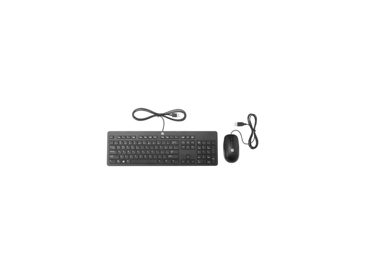 HP Slim USB Keyboard and Mouse - USB Cable USB Cable Scroll Wheel - Symmetrical - Compatible with Desktop Computer, Notebook