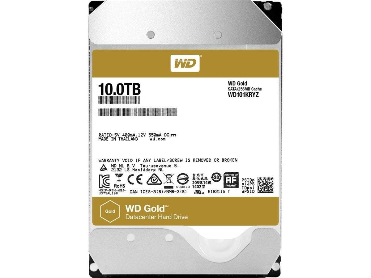 WD101KRYZ 10TB WD Gold™ high-capacity datacenter hard drive - SATA - 7200rpm - 256 MB Buffer