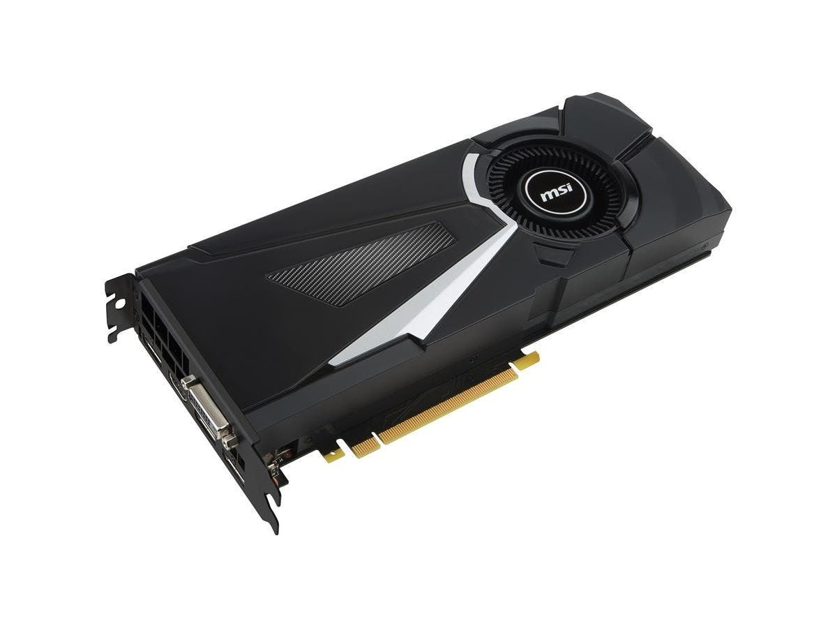 MSI AERO GTX 1080 AERO 8G OC GeForce GTX 1080 Graphic Card - 1.63 GHz Core - 1.77 GHz Boost Clock - 8 GB GDDR5X - PCI Express 3.0 x16 - 256 bit Bus Width - SLI - Fan Cooler - DirectX 12, OpenGL 4.5