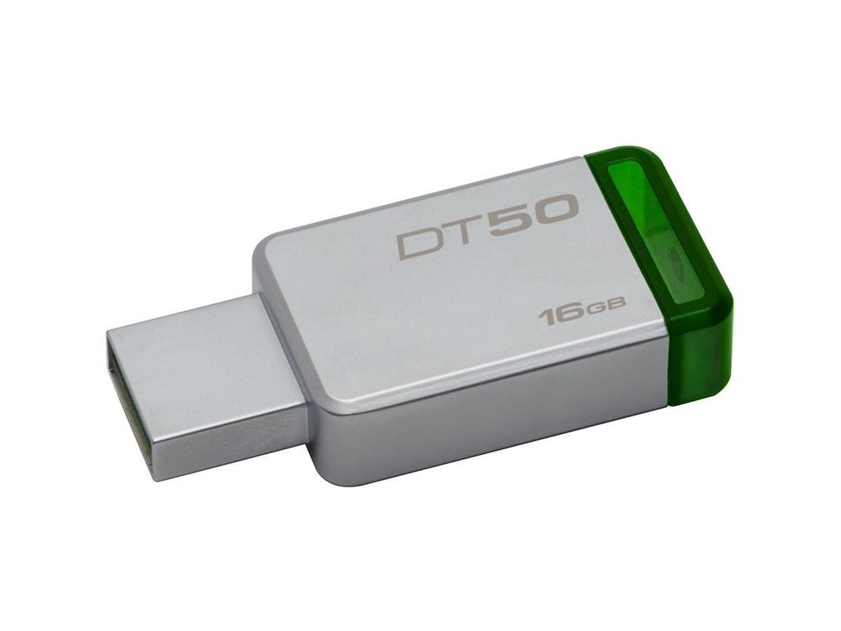 Kingston 16GB USB 3.0 DataTraveler 50 (Metal/Blue) - 16 GB - USB 3.0 - Green - 1 Pack-Large-Image-1