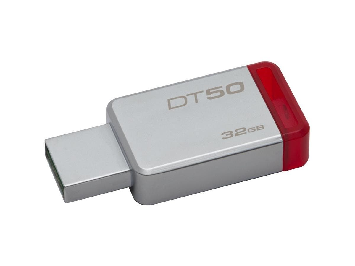 Kingston 32GB USB 3.0 DataTraveler 50 (Metal/Blue) - 32 GB - USB 3.0 - Red - 1 Pack-Large-Image-1