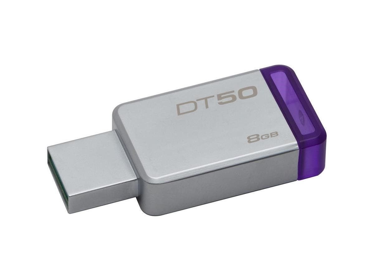 Kingston 8GB USB 3.0 DataTraveler 50 (Metal/Blue) - 8 GB - USB 3.0 - Purple - 1 Pack