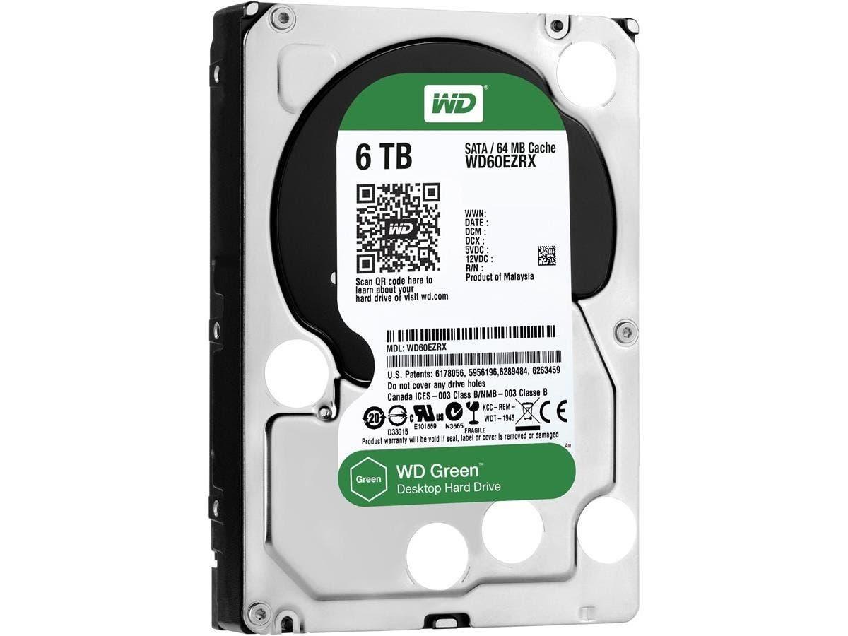 WD Green 6TB Desktop Capacity Hard Drives SATA 6 - WD Green 6 TB Desktop Hard Drive 3.5-inch SATA 6, IntelliPower, 64 MB Cache Internal Bare or OEM Drive
