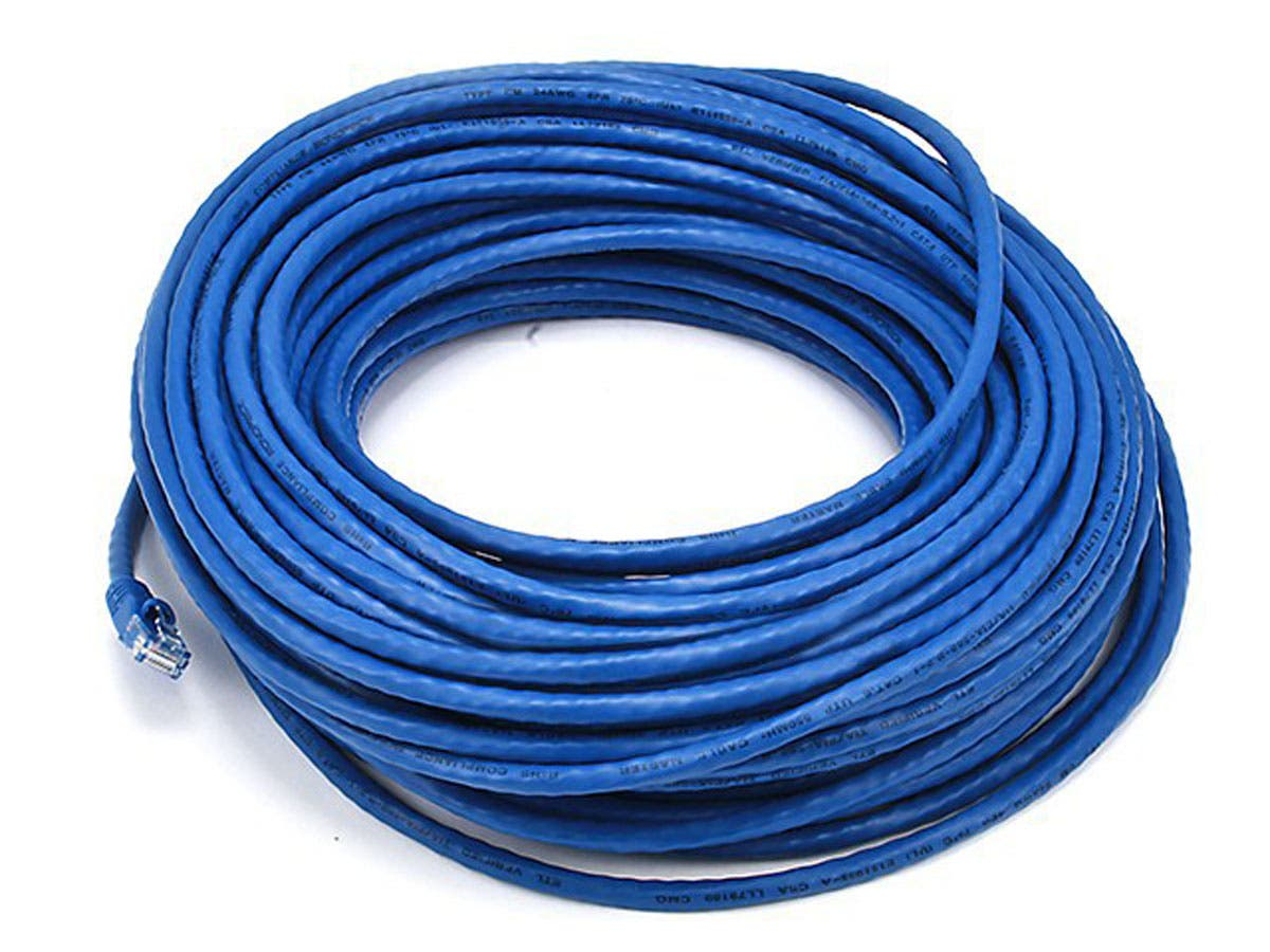 Cat6 24AWG UTP Ethernet Network Patch Cable, 100ft Blue
