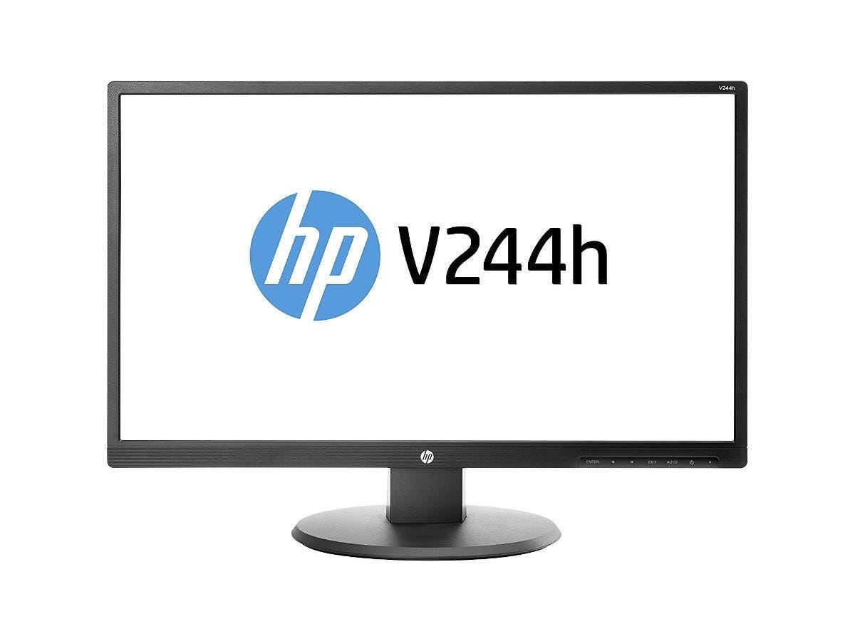 "HP V244h - LED monitor - 23.8"" - 1920 x 1080 - 250 cd/m² - 3000:1 - 7 ms - HDMI, DVI, VGA - Black"