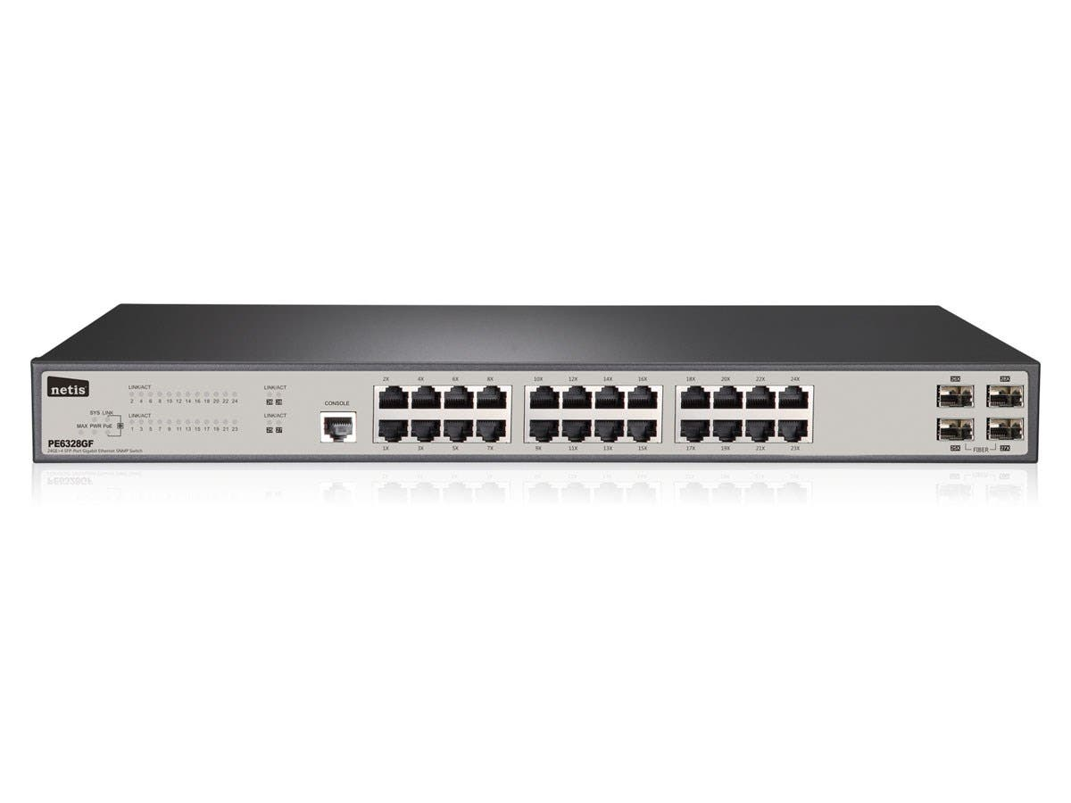 Monoprice 24GE+4 SFP-Port Gigabit Ethernet SNMP PoE Switch, 300W-Large-Image-1
